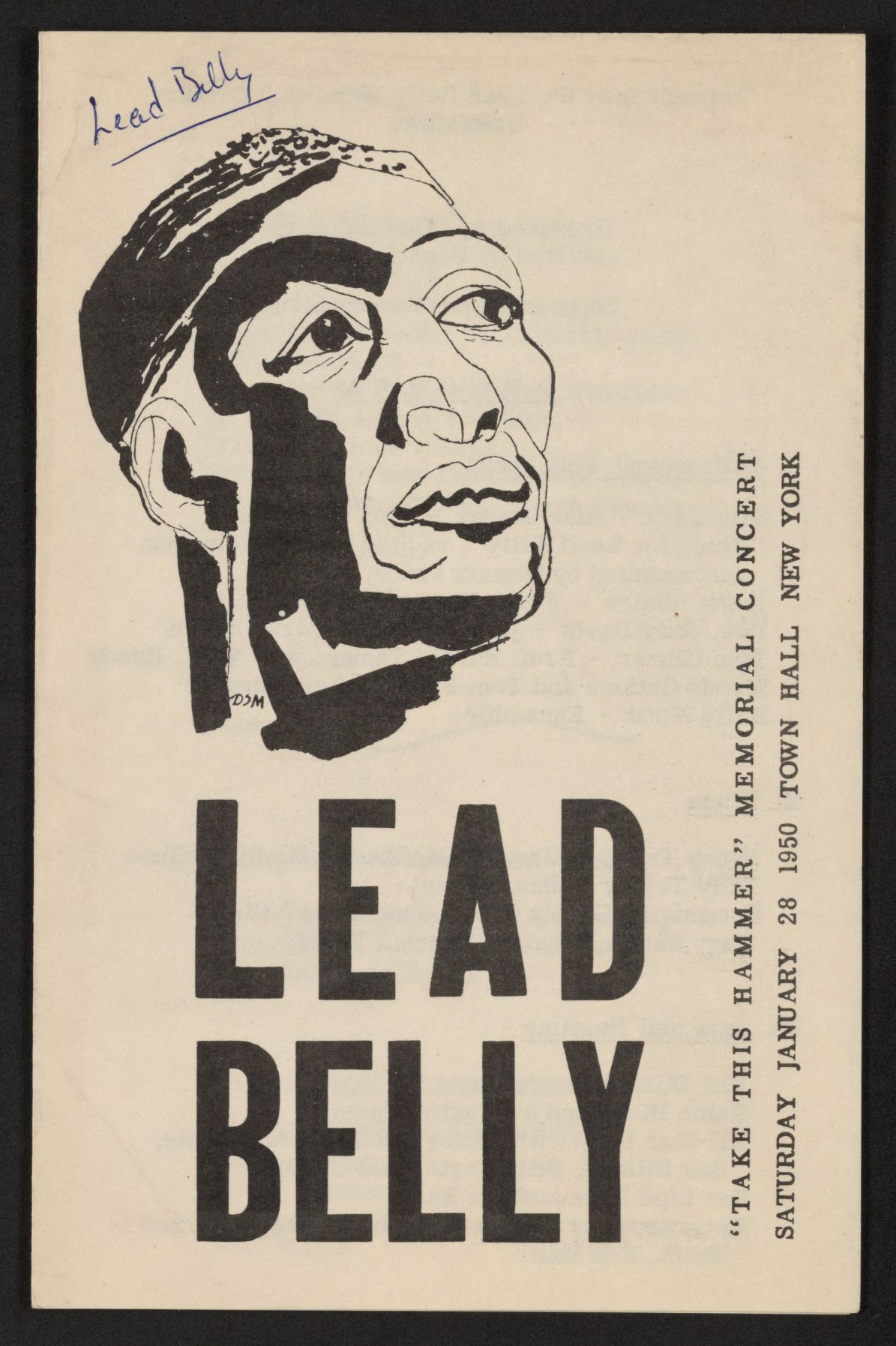 Lead Belly Memorial Concert Poster